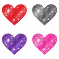 Glittering hearts a colorful set of Royalty Free Stock Photography