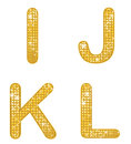 Glittering ijkl a set of four alphabetical letters Royalty Free Stock Photo