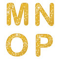Glittering mnop a set of four alphabetical letters Royalty Free Stock Photography