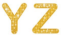 Glittering yz a set of two alphabetical letters Stock Image