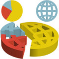 Global 3D Financial Pie Chart of Globalization Dat Stock Image