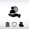Global business, business man icon, vector illustration. Flat de