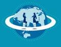 Global business. Businesswomen greet woman. Concept business com