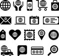 Global business icons set of different isolated on white background Royalty Free Stock Images
