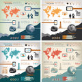 Global business info graphics illustrated set of with communication theme Stock Photography