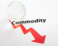 Global commodity drop concept with crystal ball Stock Photos