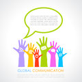 Global communication poster with human hands Stock Photo