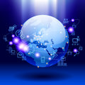 Global communication vector image of globe and web icons on bright blue background world digital and technology network there is Stock Photos