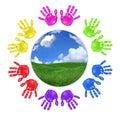 Global Concept of Children's Handprints Around the