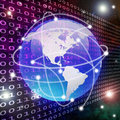 Global connection and data transfer Stock Image