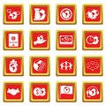 Global connections icons set red