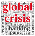 Global crisis concept on white in word tag cloud background Stock Photo