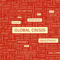 Global crisis word cloud illustration tag cloud concept collage Royalty Free Stock Photos