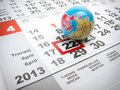 Global day earth marked on the calendar with a globe as a symbol Royalty Free Stock Photo