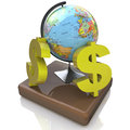 Global dollar at registration information related to the world and finance Stock Photos