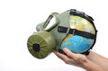 Global earth pollution and environmental concept globe with gas mask isolated Stock Photography