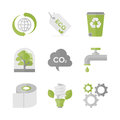 Global ecology and nature conservation flat icons set of waste recycling eco material green production environment protection Royalty Free Stock Images