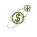 The Global Financial System conceptual logo, unique vector symbo