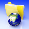 Global folder asia d rendered illustration network shared directory Royalty Free Stock Photos