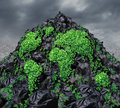 Global garbage concept with a mountain of black plastic trash bags in a landfill background with a vine plant shaped as the planet Royalty Free Stock Photography