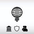 GLOBAL Light bulb icon, vector illustration. Flat design style