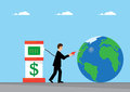 Global liquidity a businessman pumps dollars into the earth a metaphor on the reserve currency Royalty Free Stock Photography