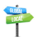 Global and local road sign illustration design over a white background Stock Image
