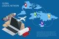 Global logistics. Global logistics network. Logistic isometric concept. Logistic Insurance. Ship cargo concept. Logistic