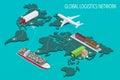 Global logistics network Flat 3d isometric vector illustration Set of air cargo trucking rail transportation maritime