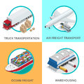 Global logistics network Flat 3d isometric vector illustration Set of air cargo trucking rail transportation maritime