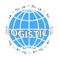 Global logistics network. Set icons: truck, airplane, cargo ship. Transportation over world.