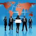 Global map world business people team hold sign Royalty Free Stock Photos