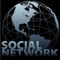 Global media SOCIAL NETWORK Earth Globe Royalty Free Stock Photo