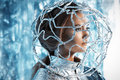 Global net beautiful young woman in silver latex costume with futuristic hairstyle and make up sci fi style Stock Images