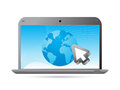 Global network a laptop with the earth and cursor arrow Royalty Free Stock Photo