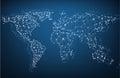 Global network mesh. Earth map.