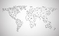 Global network mesh. Earth map Royalty Free Stock Photo