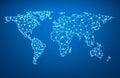 Global network mesh. Earth map