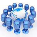 Global online with earth and mics on a white background Stock Images