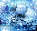 Global piggy bank money business a montage of icons with a blue tone Stock Images