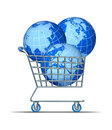 Global purchase and international investing with three world spheres in a shopping cart representing asia north america europe Royalty Free Stock Photos