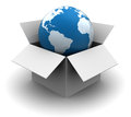 Global shipping d illustration of world in box concept Stock Images