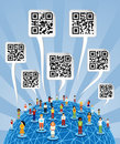 Global social media World with QR codes signs Stock Photos