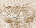 Global stock trading composing with globes and rate charts Royalty Free Stock Photo