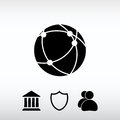 Global technology or social network icon, vector illustration. F