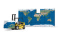 Global transportation concept of modern yellow forklift carrying piece of map on white background elements of this image Stock Images