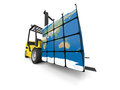 Global transportation concept of modern yellow forklift carrying planet earth in form of cube isolated on white background Royalty Free Stock Image