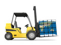Global transportation concept of modern yellow forklift carrying planet earth in form of cube on white background elements of this Stock Photos