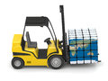 Global transportation concept of modern yellow forklift carrying planet earth in form of cube on white background elements of this Royalty Free Stock Photos