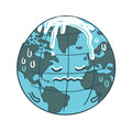 Global warming cartoon vector freehand drawing Stock Image